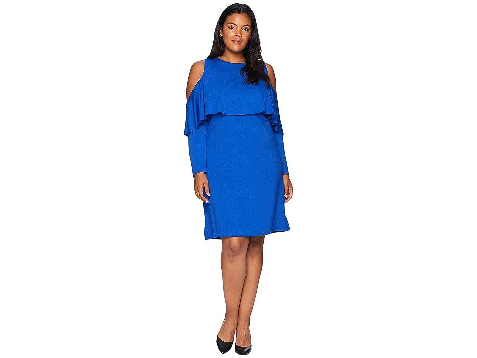 KARI LYN Plus Size Amy Cold Shoulder Dress (Royal) Women