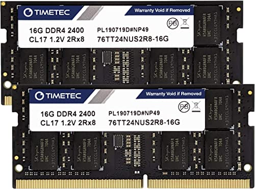 Timetec Hynix IC 32GB KIT (2x16GB) DDR4 2400MHz PC4-19200 Non ECC Unbuffered 1.2V CL17 2Rx8 Dual Rank 260 Pin SODIMM ...