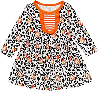 HAPPYMA Toddler Baby Girl Thanksgiving Outfit Dress Long Sleeve Turkey Print with Leopard Dresses