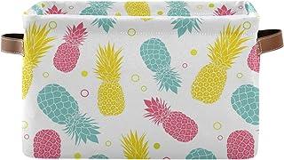 F17 Panier de rangement coloré en forme d'ananas tropicaux - Boîte de rangement avec poignée - Panier de rangement pliable...