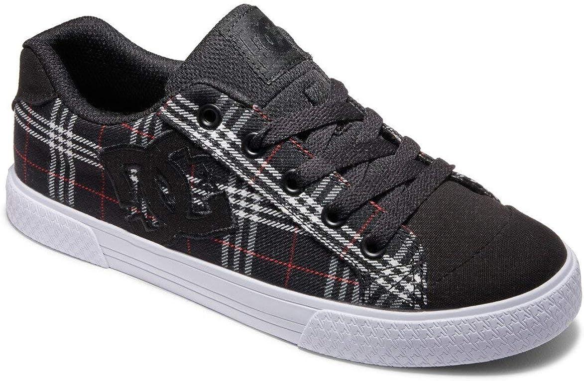DC Shoes Chelsea Canvas, Skateboarding Shoes Boys Girls, Black Plaid, 12 AU