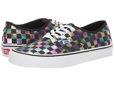 Vans Authentictm ((Iridescent Check) Black/True White) Skate Shoes