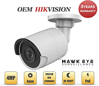 4MP PoE Security IP Camera - Compatible with Hikvision DS-2CD2043G0-I Mini Bullet EXIR Night Vision 4mm Fixed Lens H.265+ 3 Year Warranty