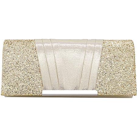 MEGAUK Damen Glitzer Clutch Unterarmtasche mit Abnehmbare Kette für Hochzeit Wedding Ball Bankett Prom Party, Gold