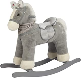 ROCK MY BABY Rocking Horse Gray,Ride on Pony with Horse Sound,Wooden Rocking Toy,Rocking Animals,for Boy&Girl Age 3 Years and up(Gray Pony for 36M+)