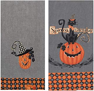 Kay Dee Designs 2 Piece Halloween Black Cat and Pumpkin Kitchen Bundle - 2 Embroidered Tea Towels