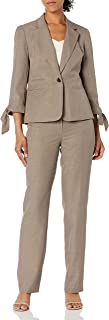 NINE WEST Women's 1 Button Notch Collar Melange Jacket with Bow Sleeve Detail and Pant