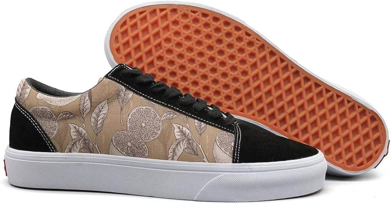 Winging Womens Vintage Lemons Drawing Comfortable Suede Canvas shoes Old Skool Sneakers