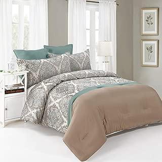 Comforter Set King 6 Pieces Blue/Brown 1 Comforter 2 Euro Shams 2 Jacquard Shams,1 Bedskirt