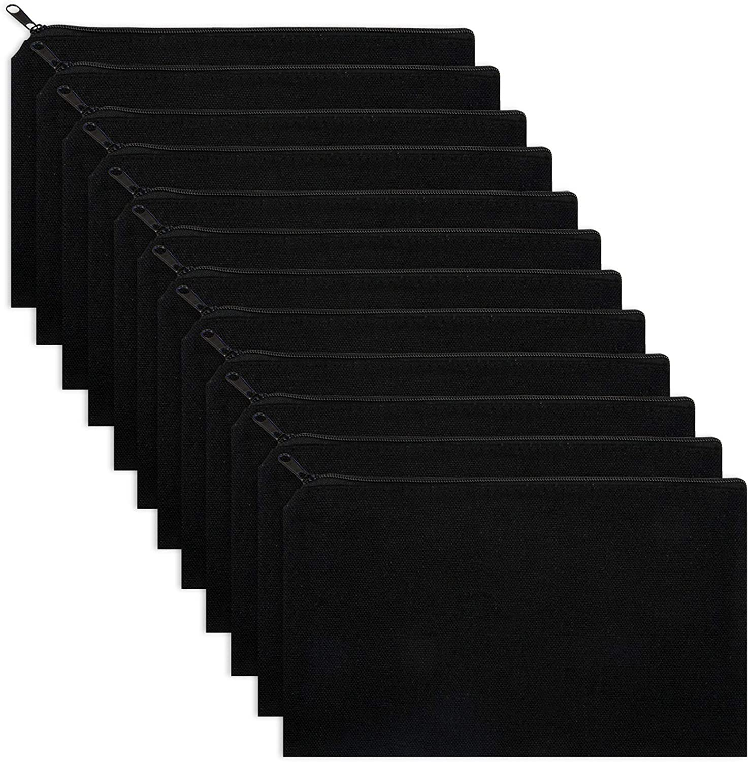 Alphatool 12 Pack Black Outstanding DIY Today's only Craft Canvas Pen Pencil Bag Case- 8