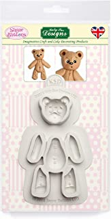 Stitched Teddy Bear Silicone Mold for Cake Decorating, Cupcakes, Sugarcraft, Candies, Clay, Crafts and Card Making, Food Safe
