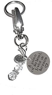 Message Charm Key Chain Ring, Women's Purse, Bag or Necklace & Bracelet Clip on Charm, Comes in a Gift Box! (A Piece of My Heart Lives in Heaven)