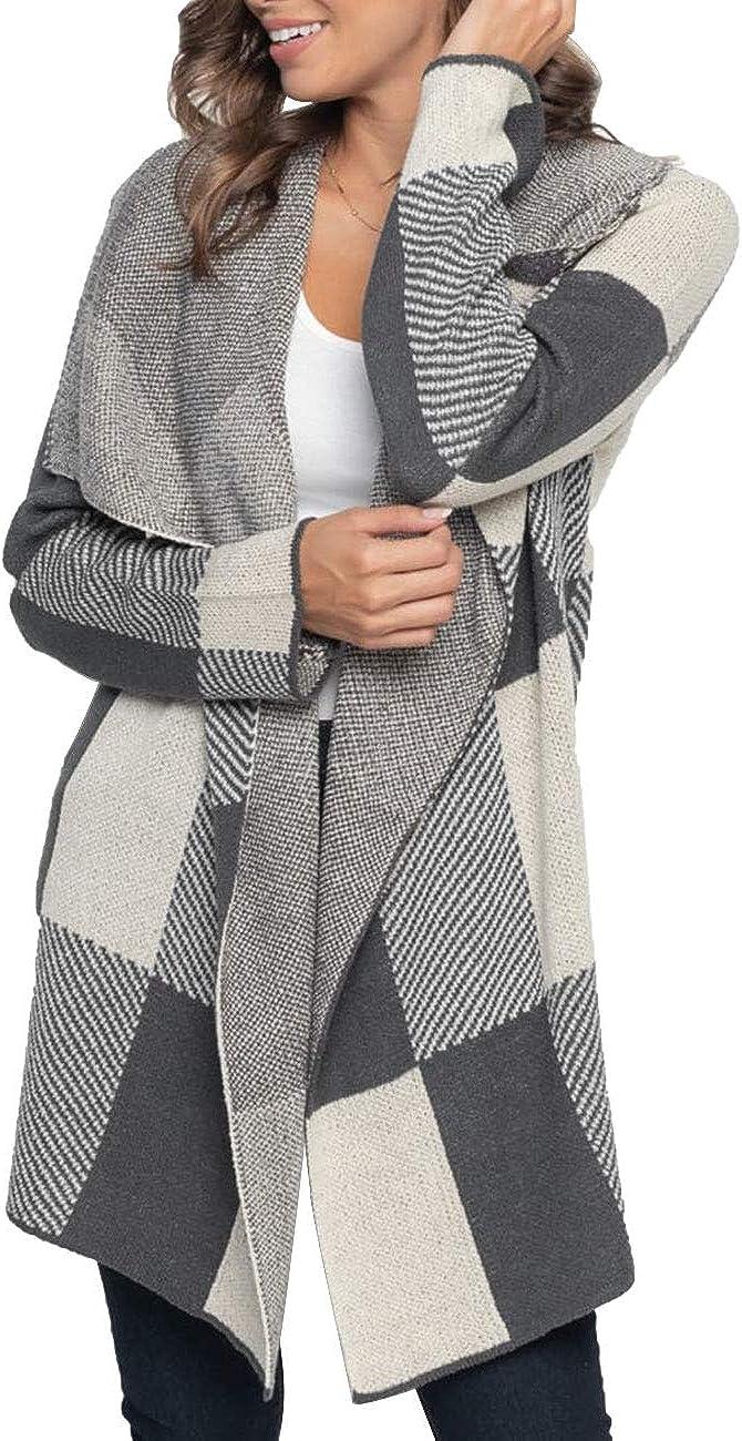 MEROKEETY Womens Plaid Long Sleeve Lapel Collar Drape Knit Cardigan Open Front Sweater Coats