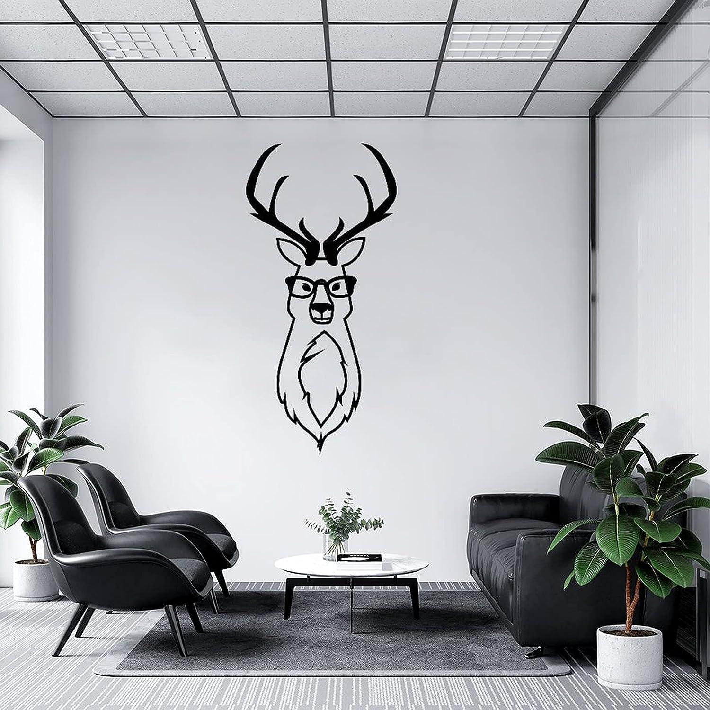 by Unbranded Pegatinas de pared con gafas con cabeza de ciervo y cuernos de ciervo calcomanía de vinilo para coches | Adhesivo de pared murales de arte decoración fresca de 35.5 pulgadas de ancho