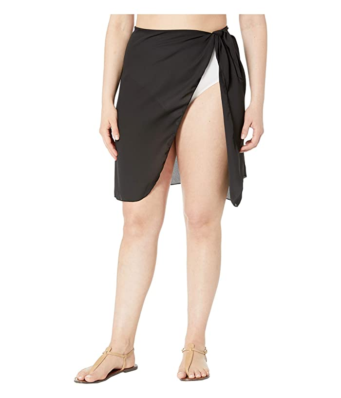 DOTTI Plus Size Short Summer Sarong Pareo Cover-Up (Black) Women