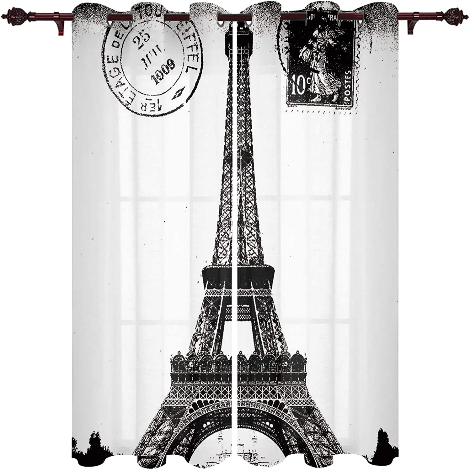 Window Curtains Bombing free shipping Eiffel Tower Vintage Privacy Scape D Stamp famous City
