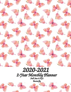 2020 - 2021 Butterfly Full Size 2-Year Monthly Planner 8.5x11: 24 month Planahead Monthly Calendar Planner - Simple Pretty Monthly Planner - Get ... - Schedule Organizer Notebook Journal Agenda