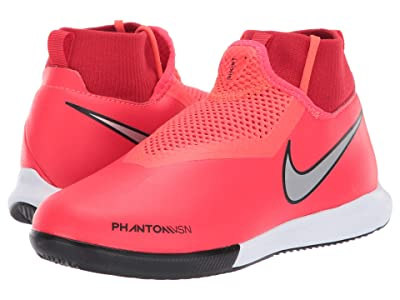 Nike Kids JR Phantom Vision Academy DF IC Soccer (Little Kid/Big Kid) (Bright Crimson/Metallic Silver) Kids Shoes
