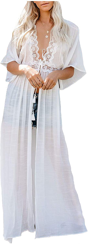 Wander Agio Womens Bikini Loose Cover Ups Beach Casual Dress Coverup Swimsuits Long Cardigan Lace White 29