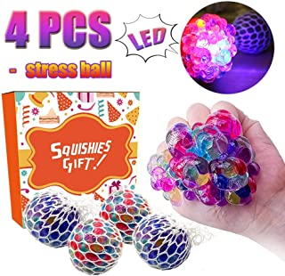 TURNMEON Mesh Stress Balls - 4 Pack LED Light Up Squeeze Ball Soft Grape Ball Stress Relief Ball for Kids Adults Sensory Rubber Ball for ADHD Fidget Toys Holiday Birthday School Gifts