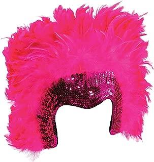 Ladies Fancy Dress Party Costume Carnival Headwear Deluxe Feather Headdress Pink