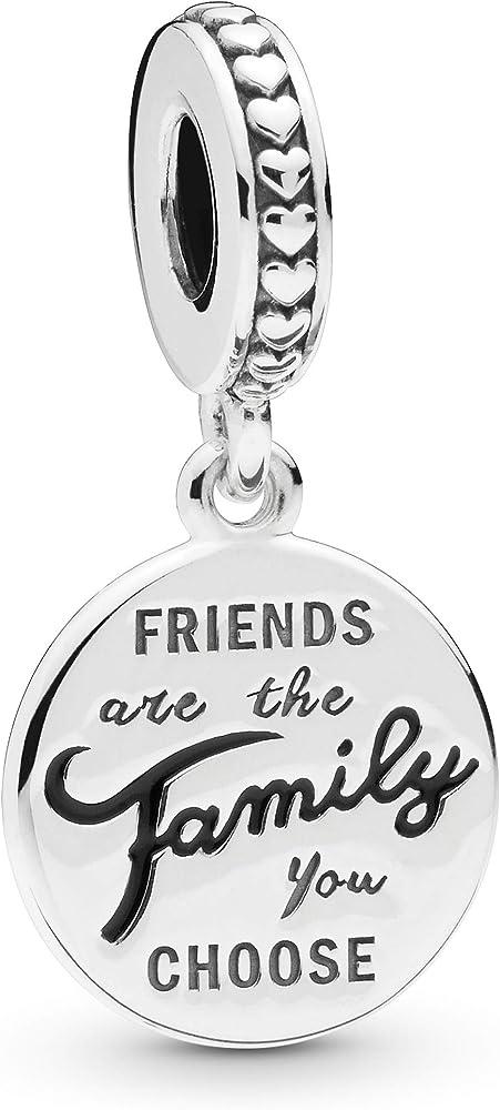 Pandoro ciondolo charm pendente gli amici sono la famiglia che scegliamo in argento sterling 925 798124EN16