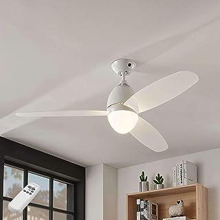 Ventilador de techo con lámpara 'Piara' (Moderno) en Blanco hecho de Plástico e.o. para Dormitorio (2 llamas, E27, A++) de Lindby | Ventilador