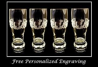 Celtic Scottish Thistle Pint Glass Set of 4