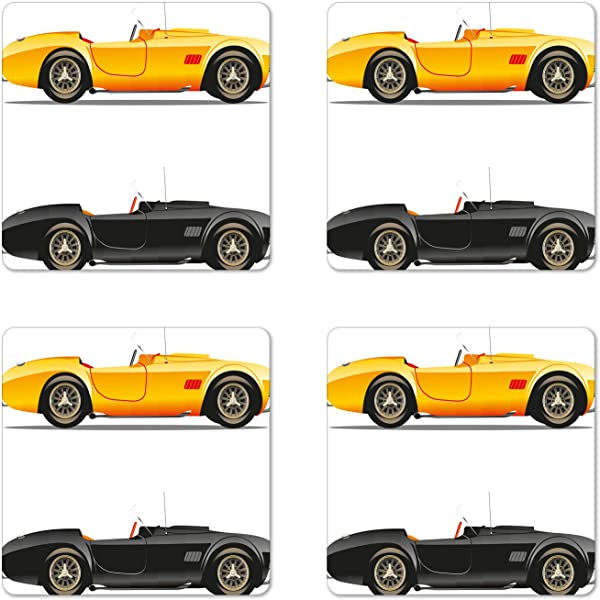 Ambesonne Vintage Coaster Set Of 4 Retro Nostalgic Cars Auto Engine Vehicle Inspired Lifestyle Design Square Hardboard Gloss Coasters For Drinks Earth Yellow Black