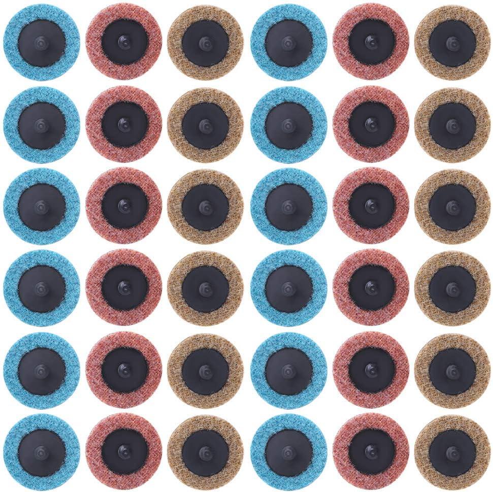 Kit de disco de lijado de 36 piezas, disco en espiral resistente al desgaste, 3 colores para soldadura de metal con pulido de superficie de disco de pulido con varilla de extensión