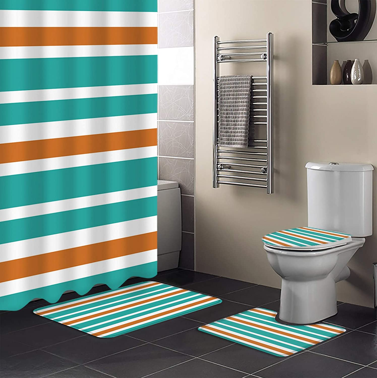 4 PCS Shower Curtain Safety and trust Sets with Waterproof Non-Sli Seasonal Wrap Introduction Bathroom