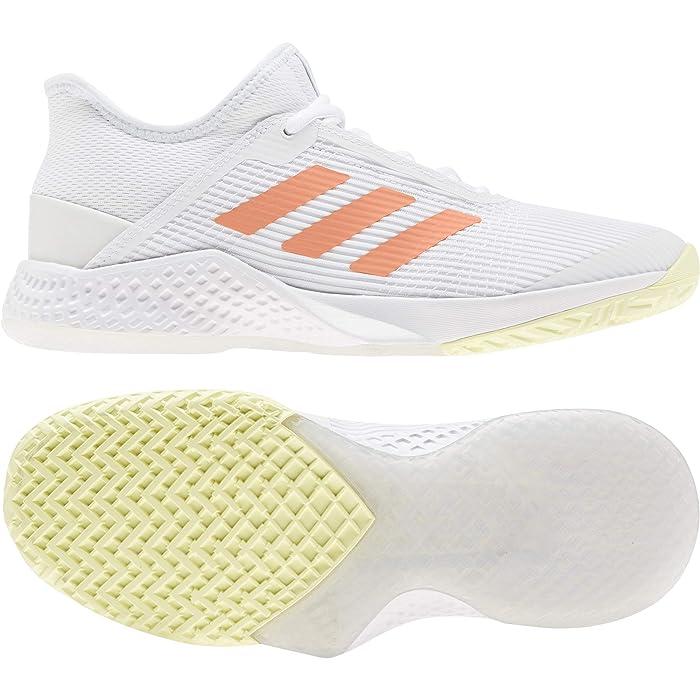 adidas  Adizero Club (Footwear White/Amber Tint/Sky Tint) Womens Tennis Shoes