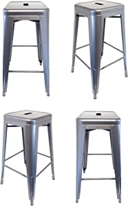 Snug Taburete de Comedor de Acero galvanizado Industrial repro Vintage Taburete de Metal de Estilo - Chrome, Set de 4 taburetes