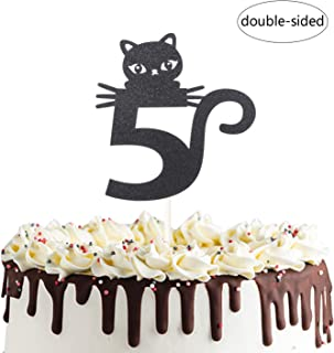 Number 5 Kitty Cat Cake Topper for Happy 5th Fifth Birthday,Baby Shower 5th Wedding Anniversary Party Decorations