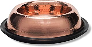 Narak Copper Pet Bowl (10x2.8) - Cat and Dog Feeding Bowl Great for Food or Water - Non-Slip Rubber Bottom - Sleek, Stylish and Portable Design - Premium Quality, Hammered Finish