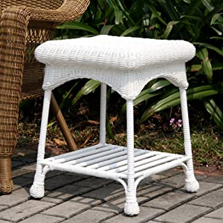 Wicker Lane Outdoor White Wicker Patio Furniture End Table