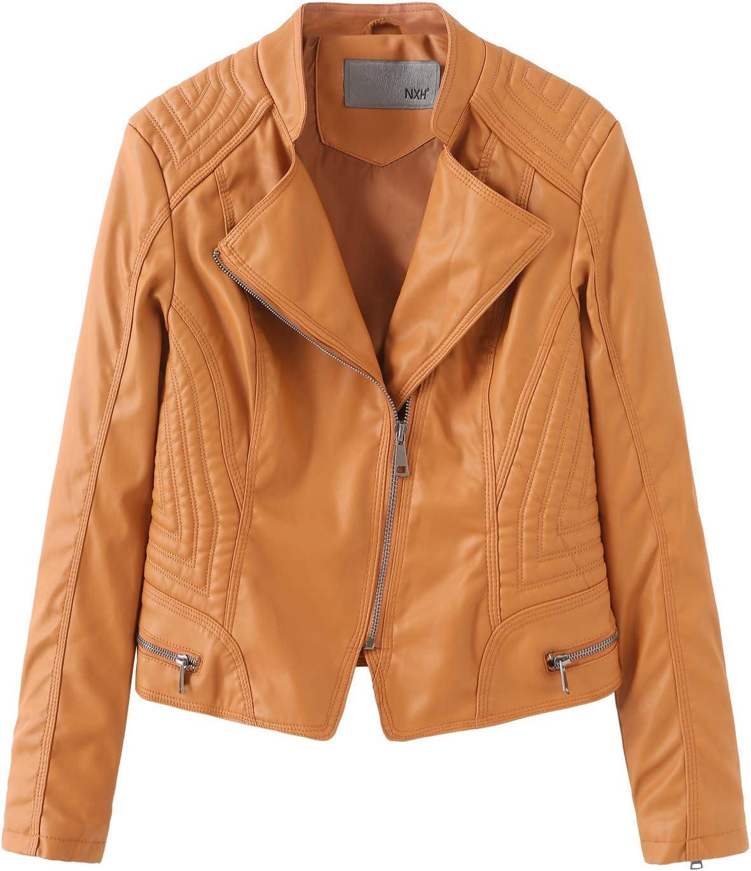 SENDEREAL New Women's Faux Leather Jackets Yellow Slim Moto Biker Jacket Coat,M