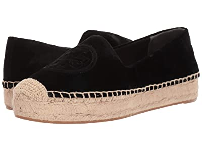 Tory Burch Velvet Platform Espadrille (Perfect Black) Women