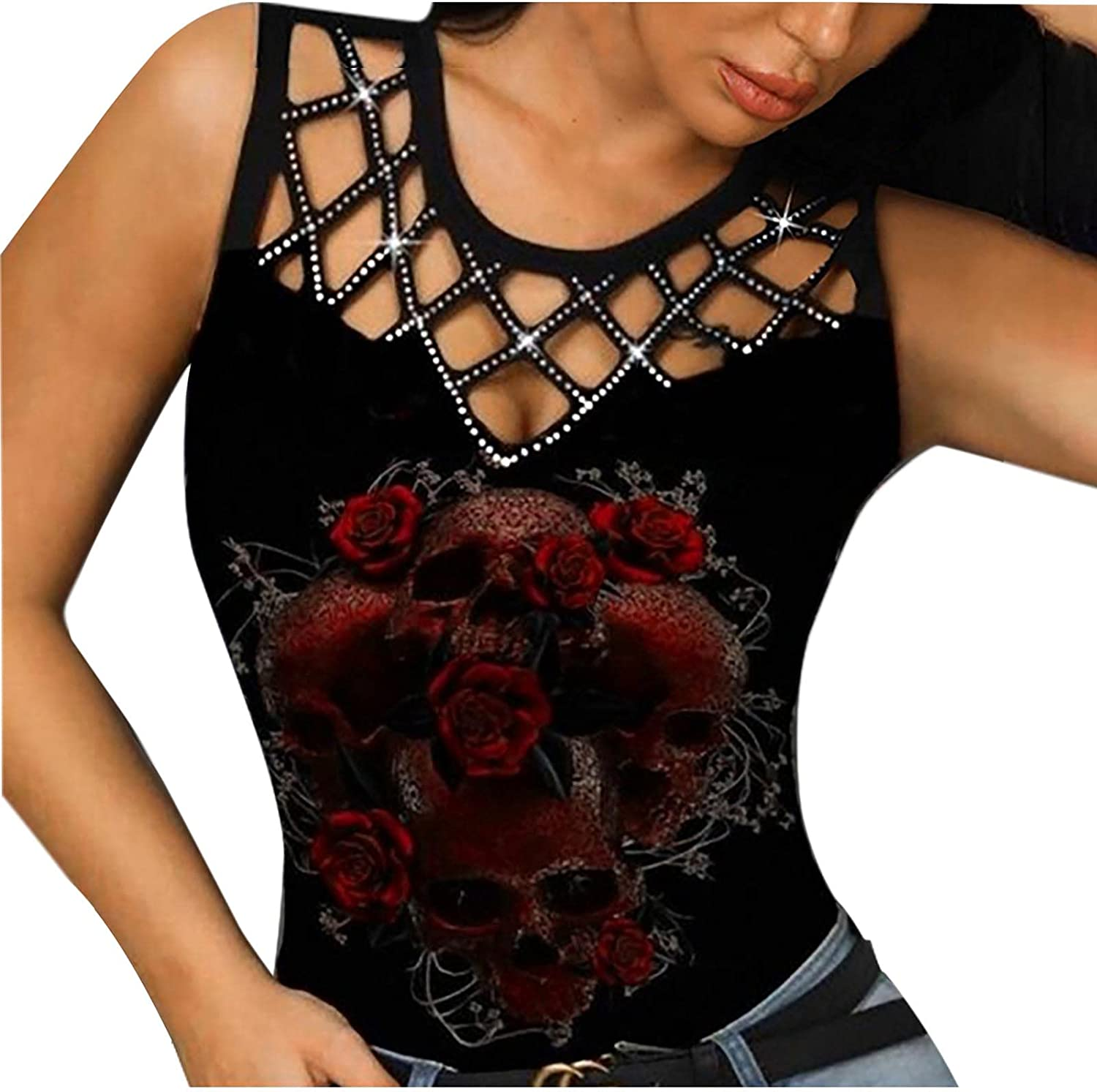 Womens Crew Neck Butterfly Printed Sexy Hollow Sleeveless T-Shirt Top Clubwear Crop Top Vest Casual Tops
