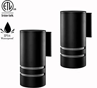 2 Pack Outdoor Wall Light, Naturous Waterproof Outdoor Porch Light, E27 Modern Wall Sconce Painted Black