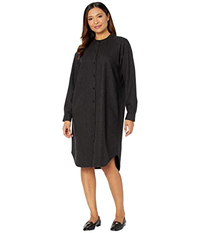 Eileen Fisher Mandarin Collar Shirtdress (Charcoal) Women