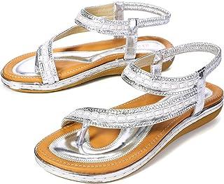 5244a678fdc025 Gracosy Sandales Femmes Plates, Chaussures Été Tongs Nu Pieds Claquettes  Plage Bride Cheville à Talons