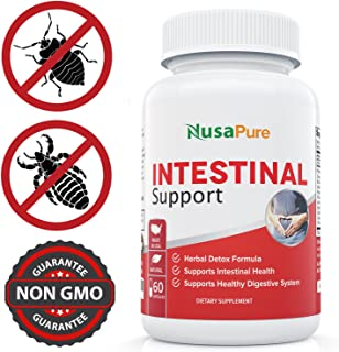 Intestinal Support for Humans (Non-GMO & Gluten Free) with Wormwood, Garlic, Black Walnut Hull & More: 60 Capsules