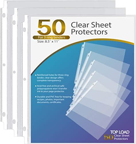 Ktrio Sheet Protectors 8.5 x 11 Inches Clear Page Protectors for 3 Ring Binder, Plastic Sleeves for Binders, Top Load...