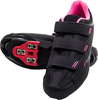 Pista Women's Indoor Cycling Ready Cycling Shoe Bundle with Compatible Cleat, Look Delta, SPD -...