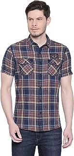 Mufti Blue Rust Tartan Checks Half Sleeves Double Pocket Shirt