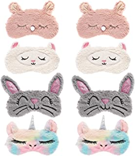 Biubee 8 Pack Cute Animal Eye Mask- Unicorn Alpaca Rabbit Bear Sleeping Mask Soft Plush Blindfold Cute Unicorn Horn Sleep ...