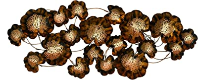 Collectible India Metal Flowers, Figures Wall Mounted Artwork , Brown & Golden, 54 x 23 Inch