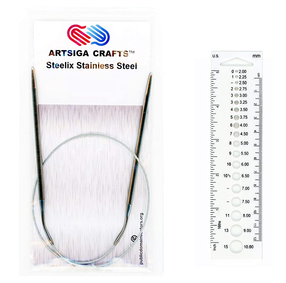 Artsiga Crafts Steelix Circular Knitting Needle Stainless Steel Size 3.0mm/US 2 Tip-to-Tip Length 120cm/47 inch Metal Cable with Needle Gauge and Resealable Pouch