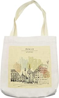Ambesonne Germany Tote Bag, Munich Germany Architecture Historical Cityscape Sketch, Cloth Linen Reusable Bag for Shopping Books Beach and More, 16.5